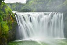 Beautiful Shifen Waterfall Is A Scenic Waterfall Located In Pingxi District, New Taipei City, Taiwan