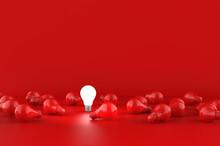 Light Bulbs On Red Background. Idea Concept. 3D Illustration.
