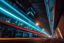 Light Trails In A Modern City - Cucinella Building - City Lights And Sustainable Transportation