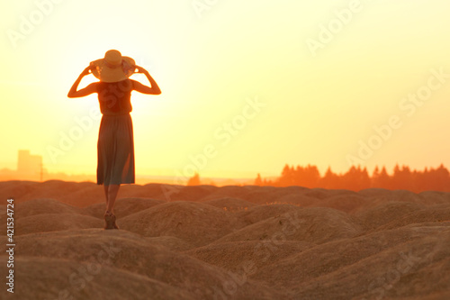 Fotografia Elegant woman in long dress with straw hat standing on sand in desert, back view