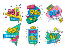 Collection Colorful Back To 90s Logo Vector Flat Illustration In Pop Art Style Ninety Years Emblem