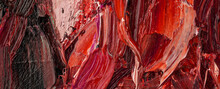 Embossed Pasty Oil Paints And Reliefs. Primary Colors: Brown, Black, Red.  Abstract Art.
