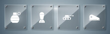 Set Military Beret, Tank, Aviation Bomb And Hand Grenade. Square Glass Panels. Vector