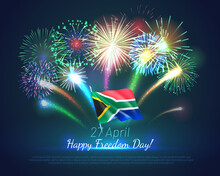 27 April Happy Freedom Day Banner Template. South Africa Independence Day Festive Backdrop, Poster, Greeting Or Invitation Card With Fireworks Realistic Vector Illustration