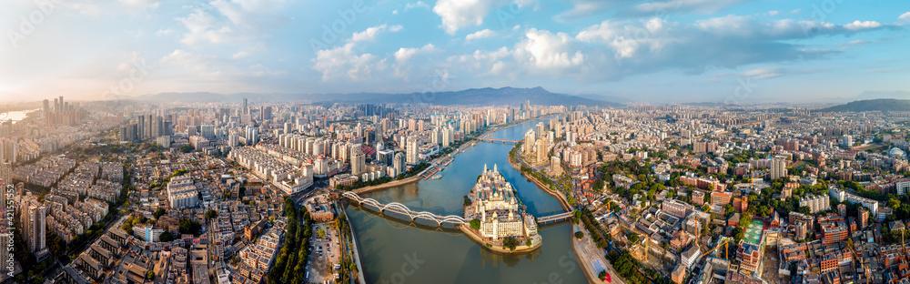Fototapeta Aerial photography of urban road overpasses and coastlines