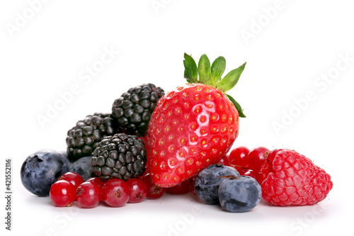 Fotografia, Obraz fruits rouges sur fond blanc