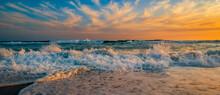 Sunset Seascape Along The Sandy Beach Of Yzerfontein, Western Cape