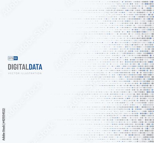 Fotografia, Obraz Abstract digital data technology dot gray, blue pattern pixel background