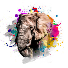 Elephant Head With Creative Colorful Abstract Elements On White Background