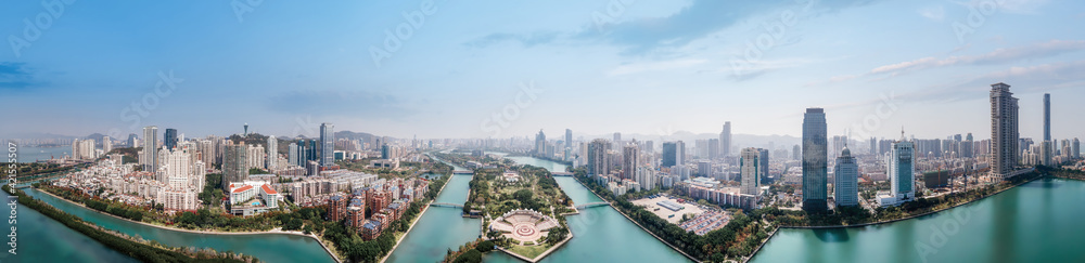 Fototapeta Aerial photography of Xiamen city landscape