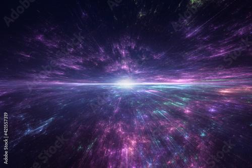 Fototapeta Star explosion in a galaxy of an unknown universe obraz