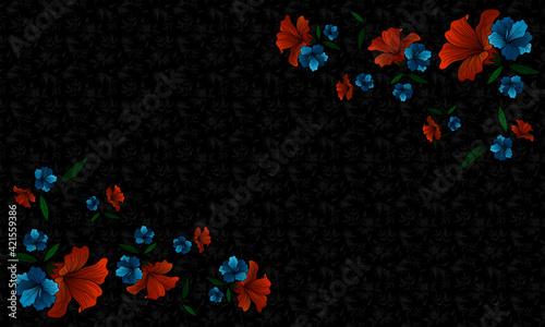 Fototapeta Pattern z kwiatami i  ozdobnymi kwiatami na przy krawędziach obraz