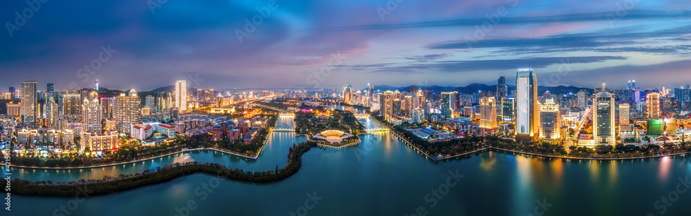 Fototapeta Aerial photography of the modern city landscape night view of Xiamen, China