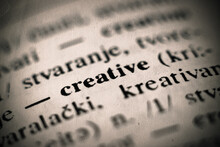 Word Creative From The Old English Dictionary. Close Up, Shallow Depth Of Field, Selective Focus.