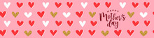 Happy Mother's Day Gold Glitter Heart Banner