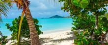 Vue D'une Plage De Sable Fin Dans Les Caraïbes. Antigua, Plage De La Vallée De L'église. Ile Des Caraïbes.