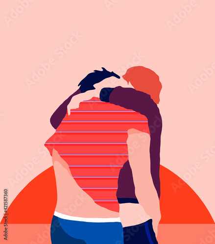 Obraz A hug between two guys - fototapety do salonu