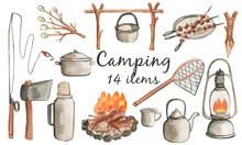Watercolour Drawing, Camping. Outdoor Recreation. Camping Supplies. Fire, Pot, Kettle. Elements Drawn By Hand.