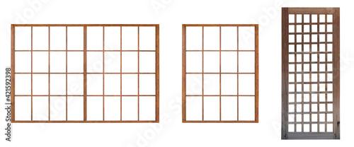 Fototapeta Japanese house wooden door window frame isolated on white background obraz