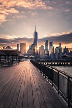 Sunrise Behind Lower Manhattan From Jersey City
