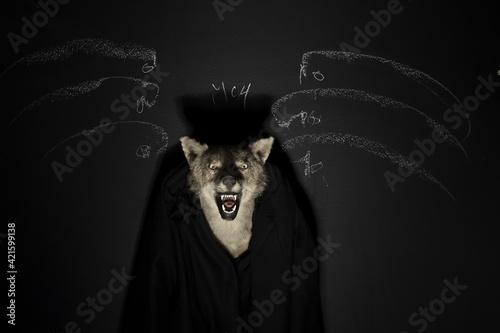 Leinwand Poster Studio Shot Of Creepy Creepy Dark Coyote Head.