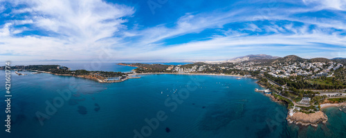 Slika na platnu Greece Athens riviera coast, Vouliagmeni bay, birds eye view
