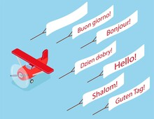 Red Isometric Plane Vector Flat Template Object. Aircraft Flying Plane On Sky Banner. Isometric Air Transport. Vector Illustration Isolated On White Background. Differents Greetings In Many Languages
