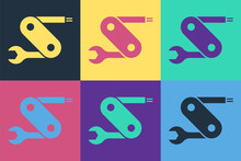 Pop Art Swiss Army Knife Icon Isolated On Color Background. Multi-tool, Multipurpose Penknife. Multifunctional Tool. Vector