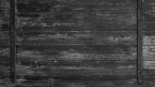 Old Abstract Black Gray Grey Peeled Off Rustic Wooden Boards / Wooden Gate / Wooden Door Texture, With Teel Bolt - Wood Background Shabby