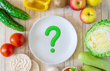 The Concept Of Proper Nutrition. Diet. Question Mark. .Selective Focus.