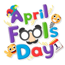 April Fools Day, Text With Emoticons And Mask