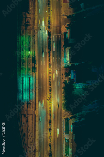 Billede på lærred Boulevard City Night