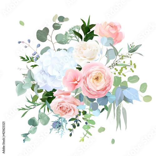 Fototapeta Dusty blue, peachy blush rose, white hydrangea, ranunculus, wedding flowers, greenery obraz