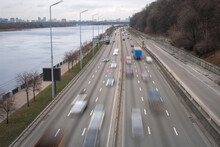 Movement Of Cars On A Multibinal Highway With Motion Blur