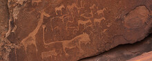 Prehistoric Bushman Engravings, Rock Painting At Twyfelfontein, Namibia - Lion And Other Animals, Panorama