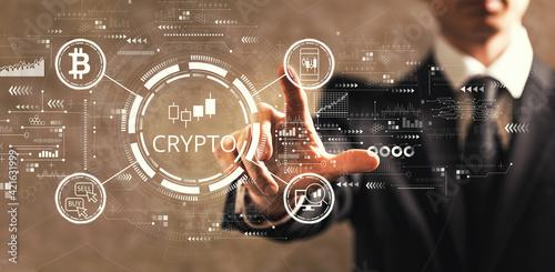 Fototapeta Crypto Trading theme with businessman obraz