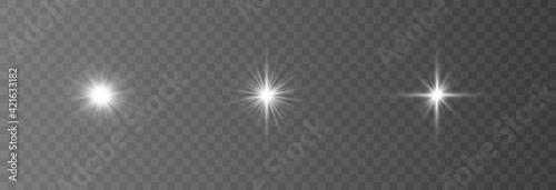 Fototapeta Special design of sunlight or light effect. Star, sun or spotlight beams. Bright flash. Light PNG. Decor element. Vector illustration for decorating. Isolated transparent background. obraz