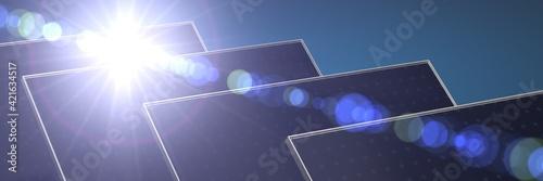 Fototapeta Solar power station - photovoltaics 3d