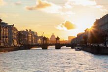 Very Beautiful Sunset On The Fontanka River In The City Of St. Petersburg Russia.