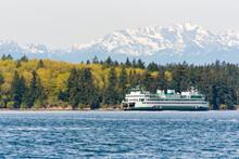 USA, Washington State, Puget Sound. Washington State Ferry Bremerton To Seattle In Rich Passage
