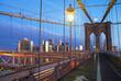 USA, New York State, New York City, Brooklyn Bridge at dusk