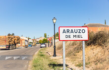 Town Entry Sign At Arauzo De Miel, Province Of Burgos, Castile And Leon, Spain