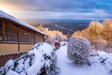 Heidelberg City Seen From Königstuhl Mountain In Winter