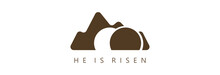 He Is Risen, The Tomb Of Christ On A Light Background. Badge.