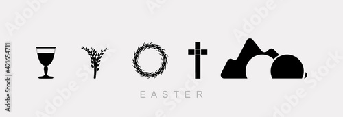 Easter inscription and cross, black logo on a white background. Wallpaper Mural