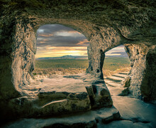 Majestic View Of A Historical Cave From Inside With A Beautiful Nature Scene In Blankenburg
