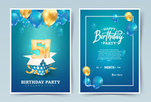 51st Years Birthday Vector Invitation Double Card. Fifty One Years Wedding Anniversary Celebration Brochure. Template Of Invitational For Print On Blue Background