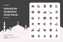 Silhouette Glyph Solid Icon Set Of Muslim And Ramadan Mubarak Theme Concept Vector Illustration