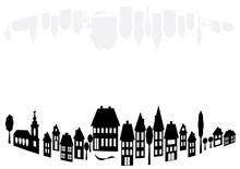 Banners With Arched Village Silhouettes Of Architectural Buildings With Empty Space For Your Text. Black And White Illustration Of Houses With Gray Mirroring.