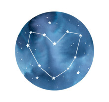 Watercolor Illustration Of Love Constellation With Cute Heart Symbol Outline, Starry Sky Piece And Beautiful Navy Blue Gradient. Hand Painted Water Color Drawing, Cutout Element For Design Decoration.